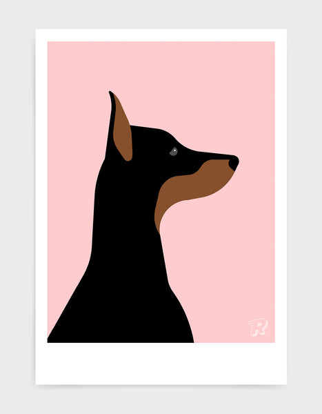 art print of a doberman dog in profile against a pink background