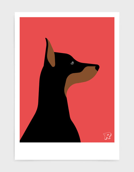 art print of a doberman dog in profile against a red background