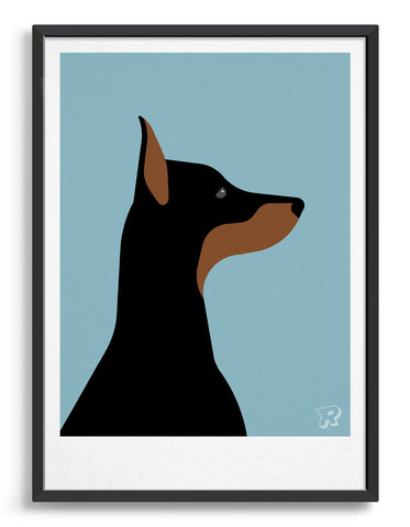 Framed art print of a doberman dog in profile against a light blue background