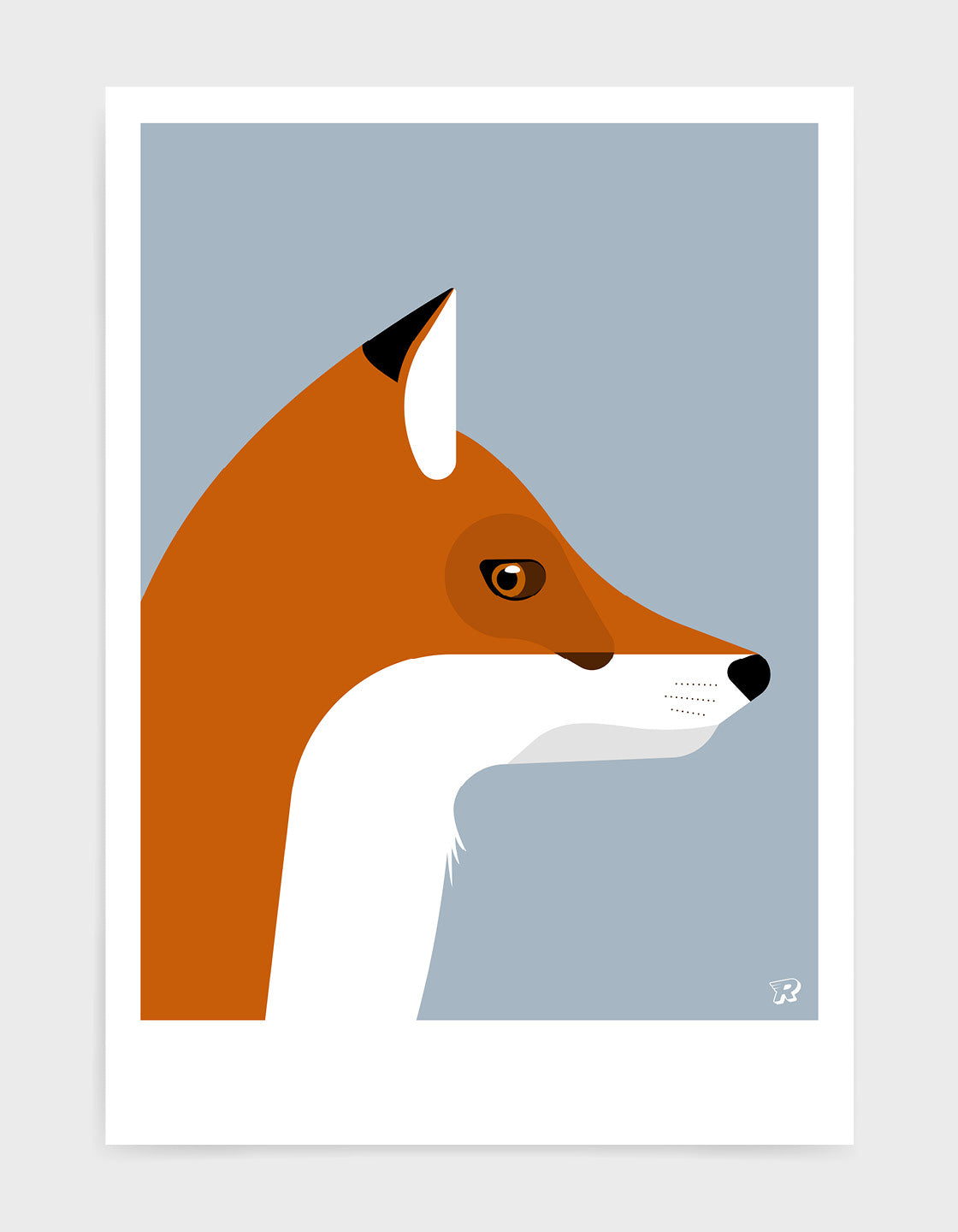 Illustration of a foxes head in profile against a light grey background