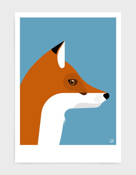 Illustration of a foxes head in profile against a sky blue background