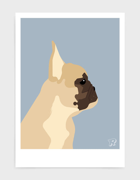 modern dog art print of a french bulldog in profile against a light grey background