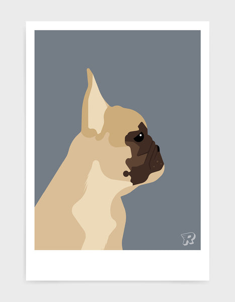 modern dog art print of a french bulldog in profile against a dark grey background