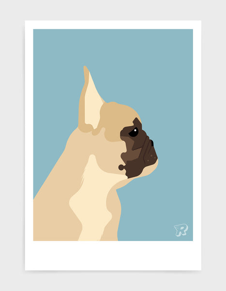 modern dog art print of a french bulldog in profile against a light blue background