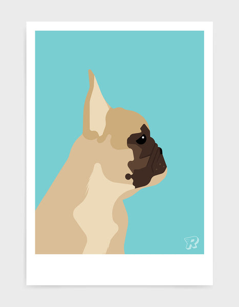 modern dog art print of a french bulldog in profile against a aqua blue background