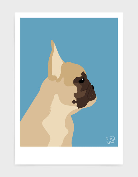 modern dog art print of a french bulldog in profile against a sky blue background