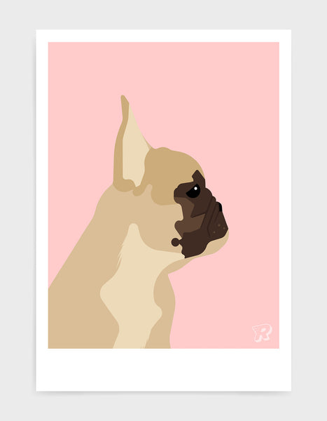 modern dog art print of a french bulldog in profile against a pink background
