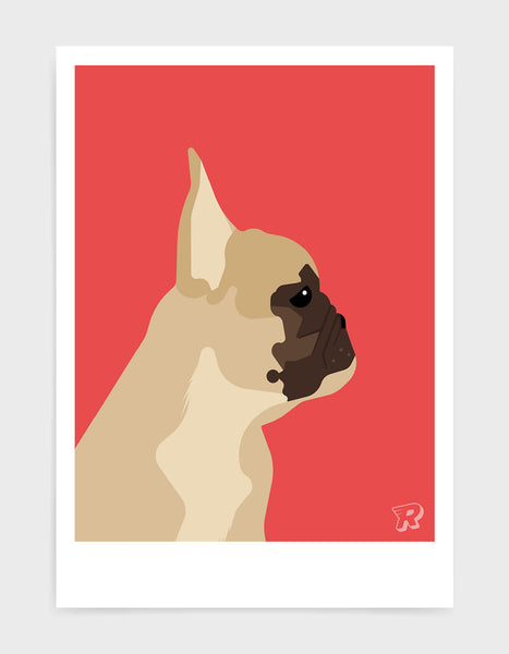 modern dog art print of a french bulldog in profile against a red background