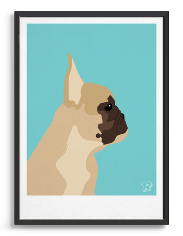 Framed modern dog print of a french bulldog in profile against a aqua blue background