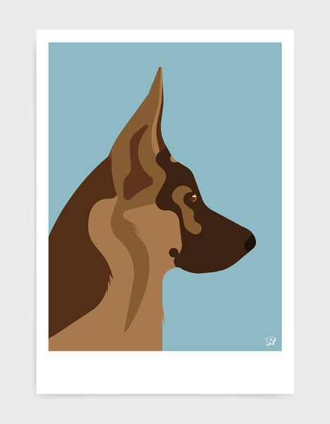 light and dark brown german shepherd head in profile against a light blue background
