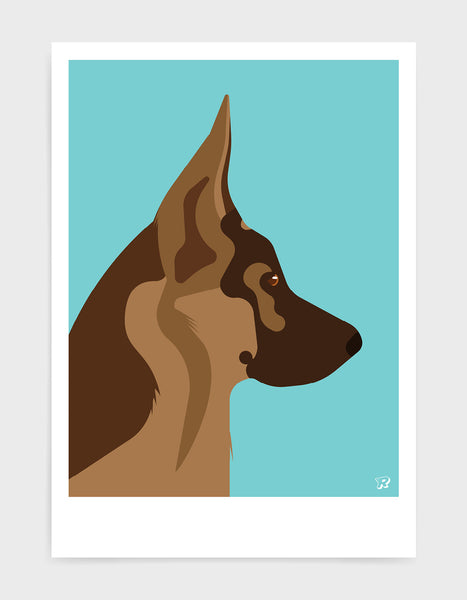 light and dark brown german shepherd head in profile against a blue aqua background