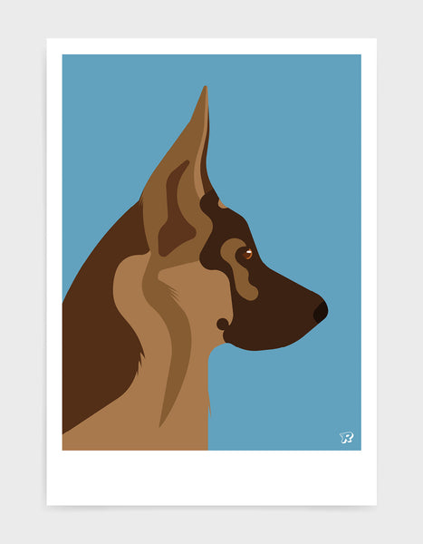 light and dark brown german shepherd head in profile against a sky blue background