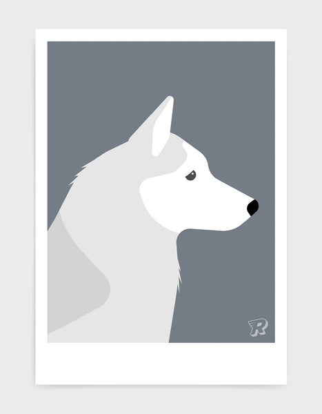 art print of a husky dog in profile against a dark grey background