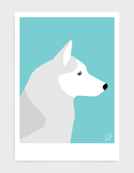 art print of a husky dog in profile against a aqua blue background