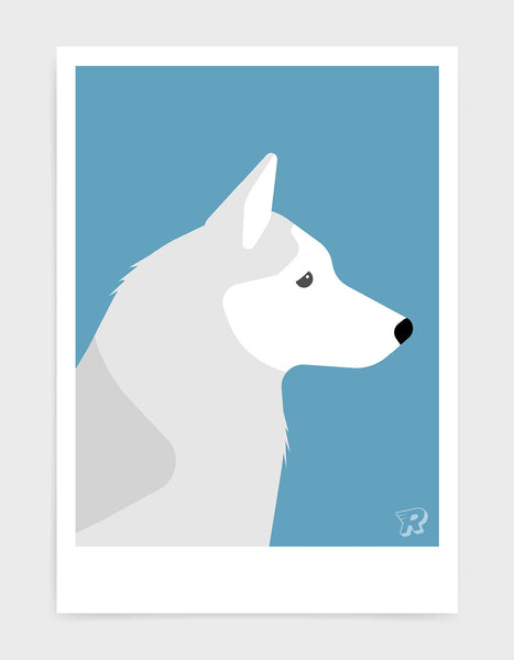 art print of a husky dog in profile against a sky blue background