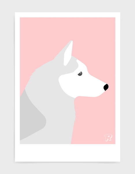 art print of a husky dog in profile against a pink background