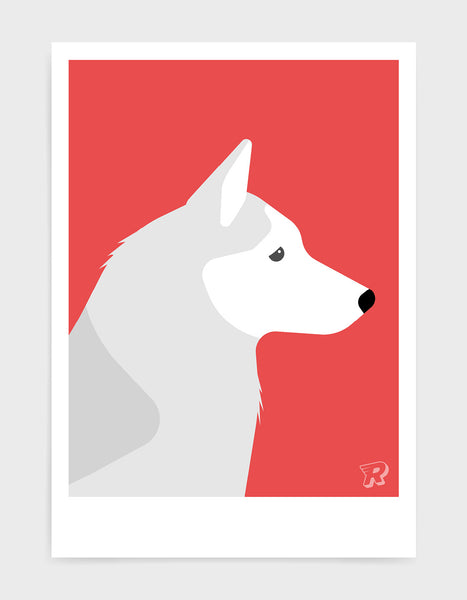 art print of a husky dog in profile against a red background
