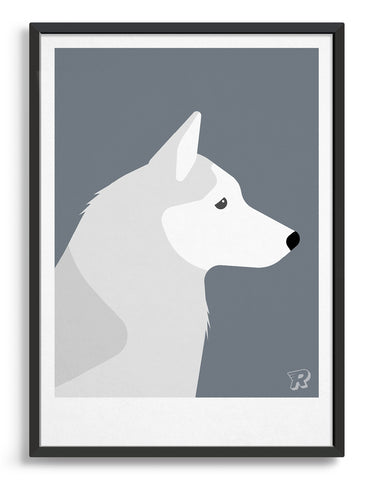 framed art print of a husky dog in profile against a dark grey background