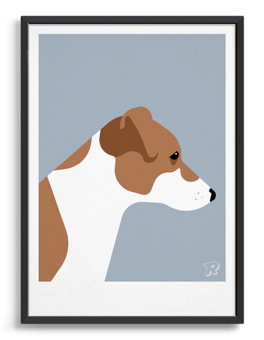 framed art print of a Jack Russel dog in profile against a grey background
