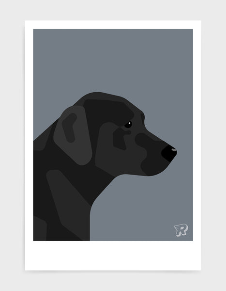 art print of a black labrador in profile against a dark grey background