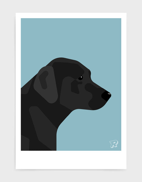 art print of a black labrador in profile against a light blue background