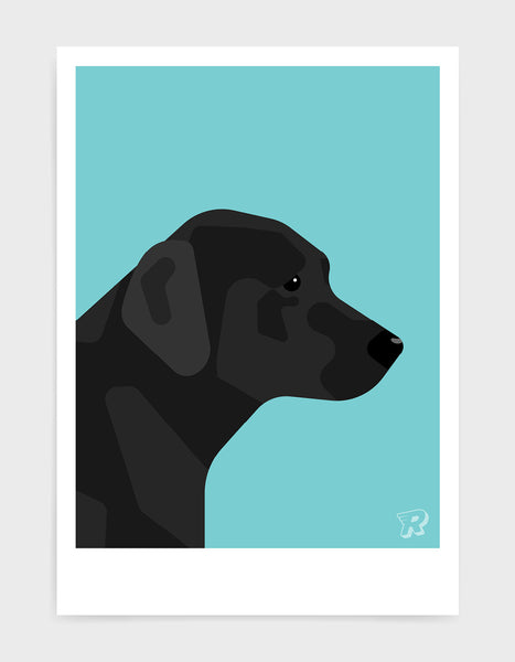 art print of a black labrador in profile against a aqua blue background
