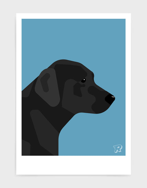 art print of a black labrador in profile against a sky blue background