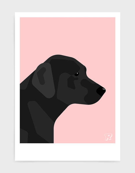 art print of a black labrador in profile against a pink background