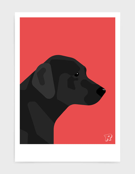 art print of a black labrador in profile against a red background