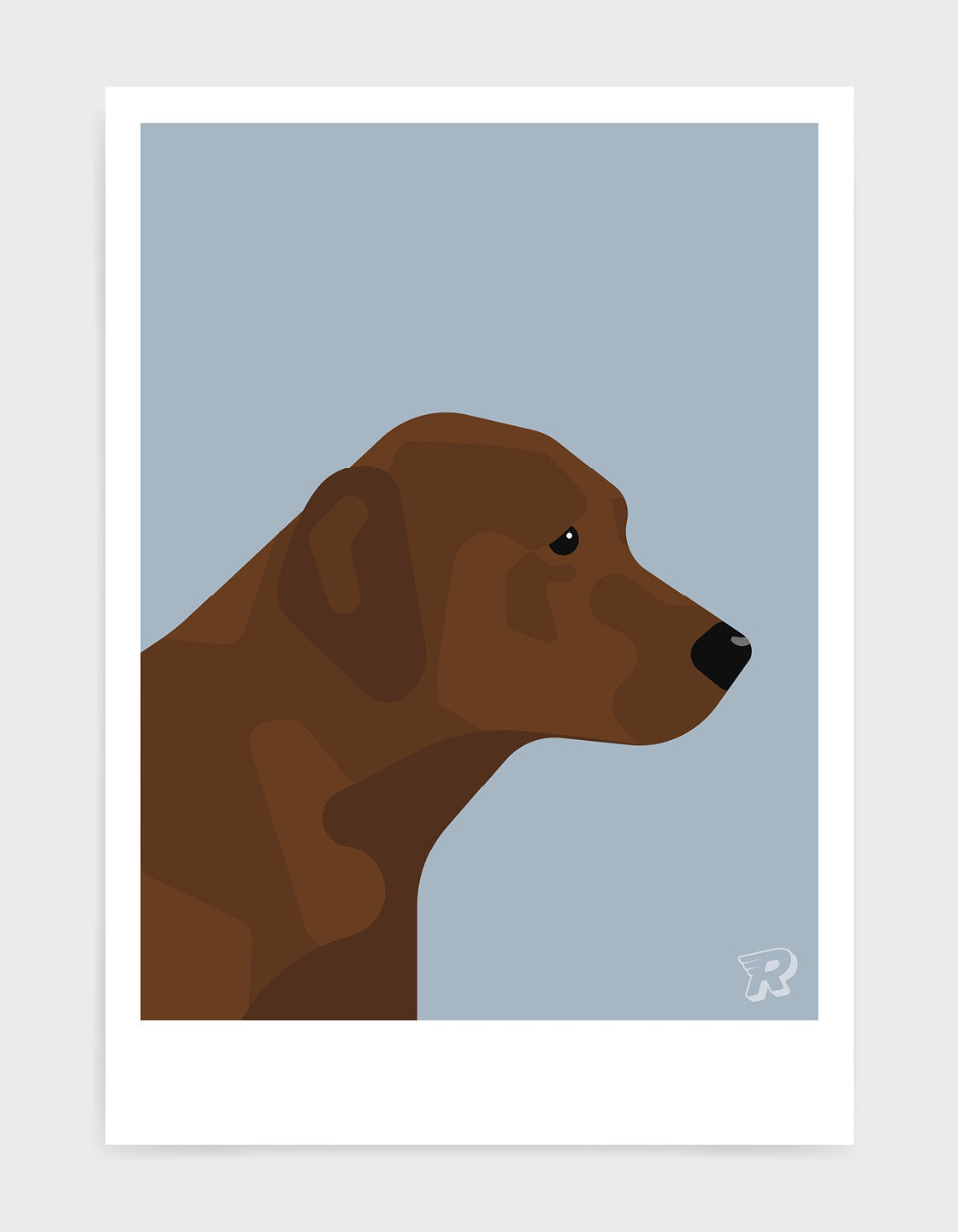 modern dog art print of a chocolate labrador in profile against a light grey background