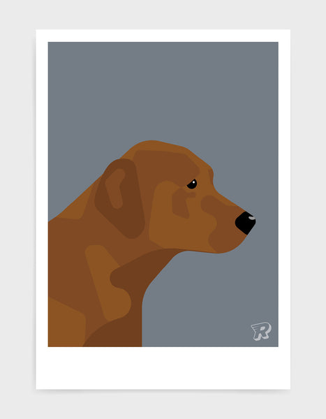 modern dog art print of a chocolate labrador in profile against a dark grey background