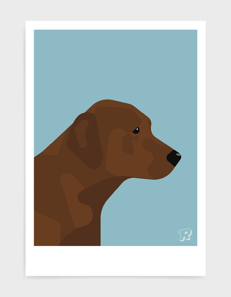 modern dog art print of a chocolate labrador in profile against a light blue background