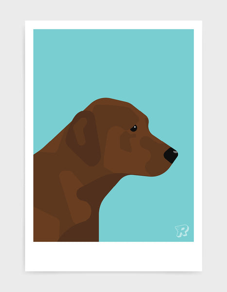 modern dog art print of a chocolate labrador in profile against a aqua blue background