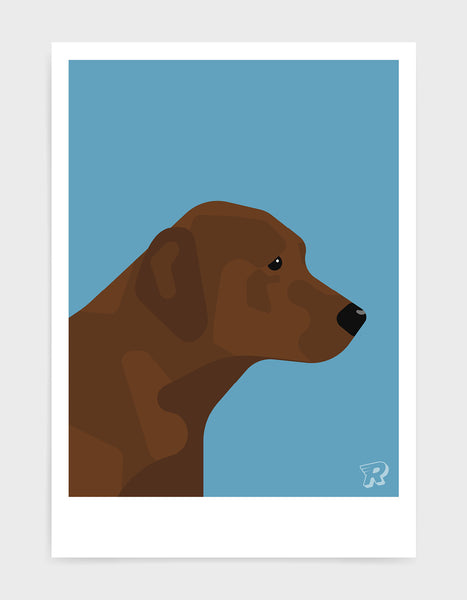 modern dog art print of a chocolate labrador in profile against a sky blue background