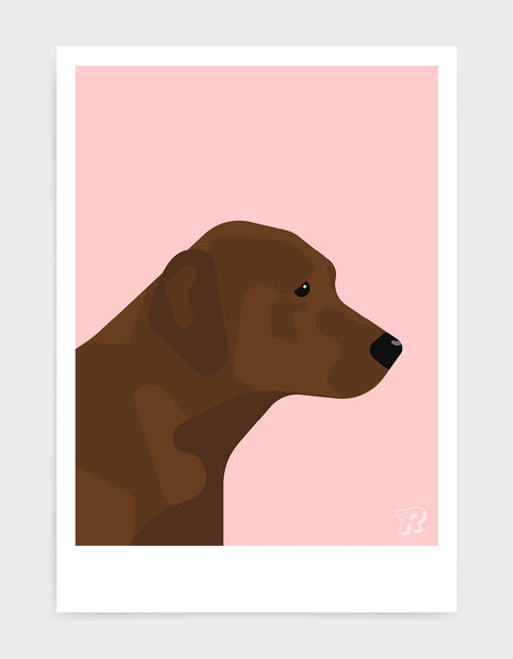 modern dog art print of a chocolate labrador in profile against a pink background