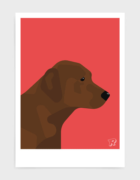modern dog art print of a chocolate labrador in profile against a red background