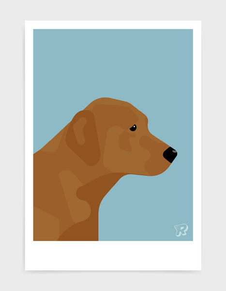modern dog art print of a fox red labrador in profile against a light blue background