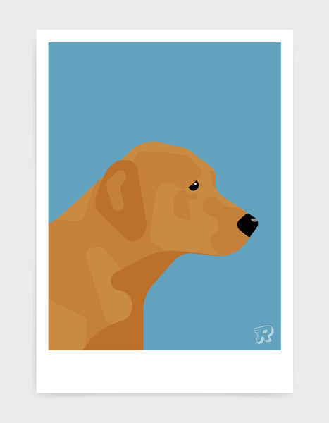 modern dog art print of a fox red labrador in profile against a sky blue background