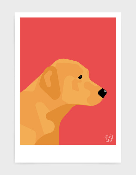 modern dog art print of a fox red labrador in profile against a red background