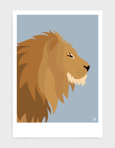 Illustration of a majestic lions head in profile against a light grey background