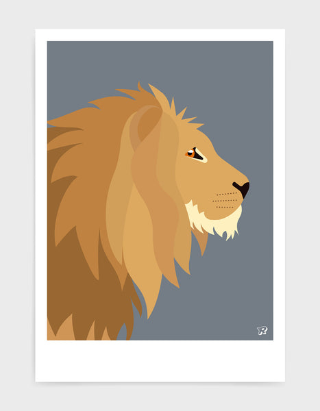 Illustration of a majestic lions head in profile against a dark grey background