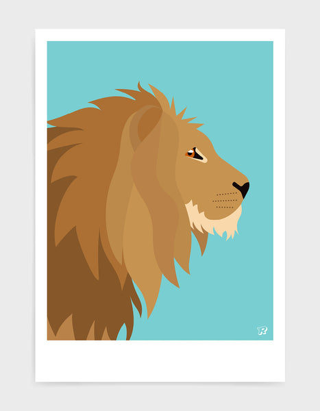 Illustration of a majestic lions head in profile against a aqua blue background