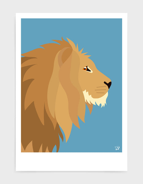 Illustration of a majestic lions head in profile against a sky blue background