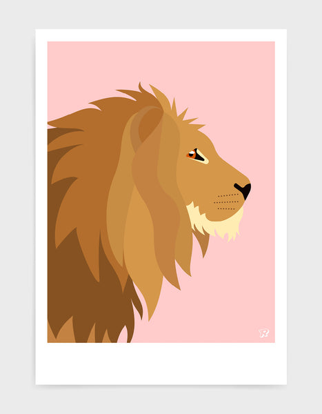 Illustration of a majestic lions head in profile against a pink background