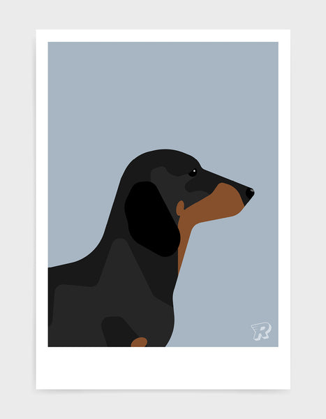 art print of a sausage dog in profile against a light grey background