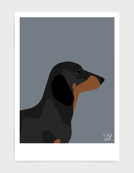 art print of a sausage dog in profile against a dark grey background