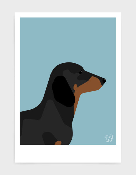 art print of a sausage dog in profile against a light blue background