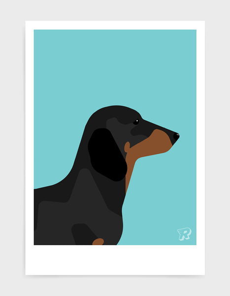 art print of a sausage dog in profile against a aqua blue background