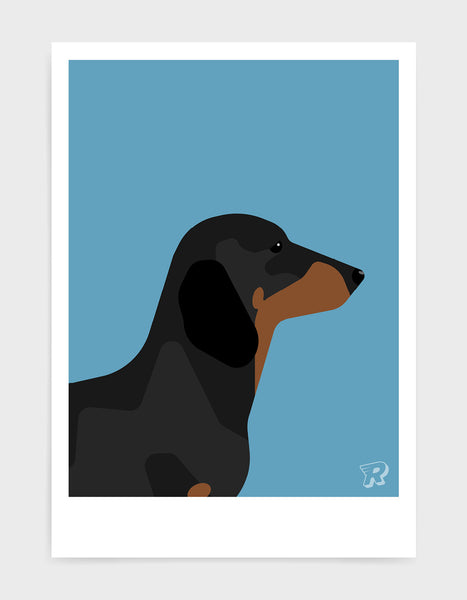 art print of a sausage dog in profile against a sky blue background
