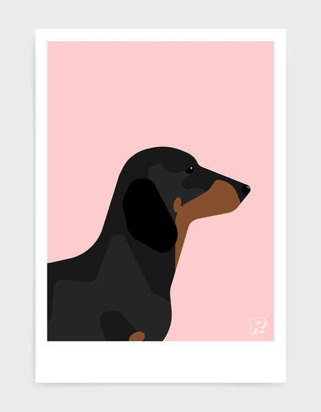 art print of a sausage dog in profile against a pink background